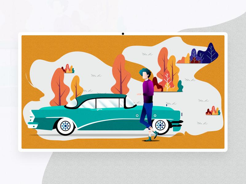 Autumn Journey car illustrator character abstract travel icon autumn design vector illustraion