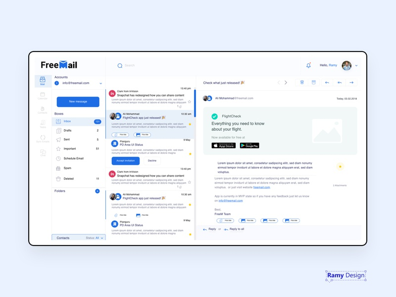 Free Mail app desktop web dashboard message app ui e-mail mail webmail message inbox