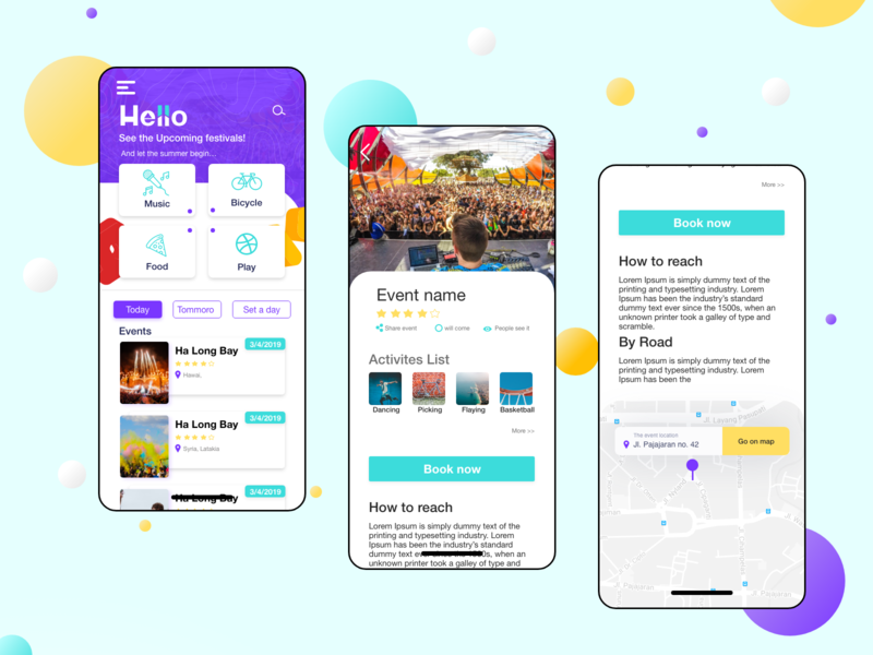 Summer Events iphone xd adobe booking application color simple music summer event ux app web webdesign vector ui design