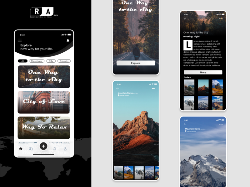 One way to the Sky country article user experience design user experience mobile city travel xd ui kit xd design design simple illustration logo webdesign ui mountain explore app