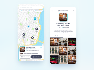 Find new restaurant/bar app mobile app design mobile design ios app map pin pin uidesign minimal ux design ios mobile ui map bar restaurant mobile app