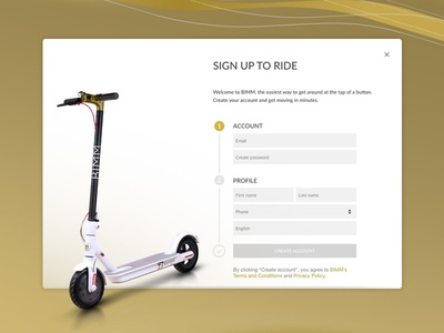 BIMM Rides - Sign up screen