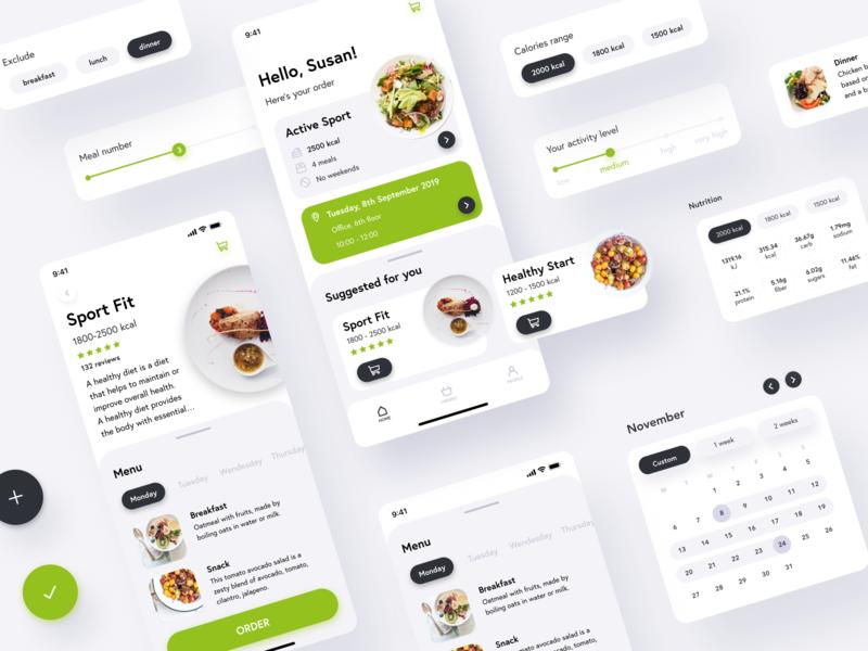 Fitapp - Catering App food and drink ui kit ios ios ui design clean green food and beverage food app uidesign uiux ui kit ui food