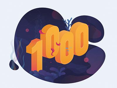 Miquido 1000 Followers octopus aquarium underwater sea colorful 1000 followers typography illustration design