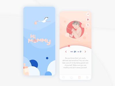 Hi Mommy Pregnancy Tracker baby medical app bump tracker pink blue baby app pregnancy app pregnancy ux  ui ui design