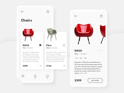 Furniture Shopping App clean bright minimalistic minimal white ui shop shopping app list shopping furniture