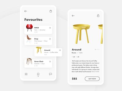 Furniture App minimalistic minimal basket listing furniture clean shopping app white ui design