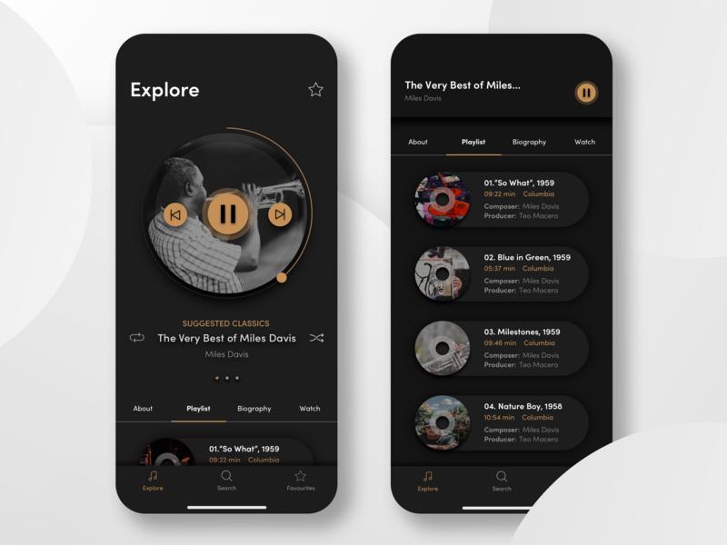 Jazz App Concept black and gold black  white music album mobile app ui  ux music app ui classics dark ui black design jazz app music app