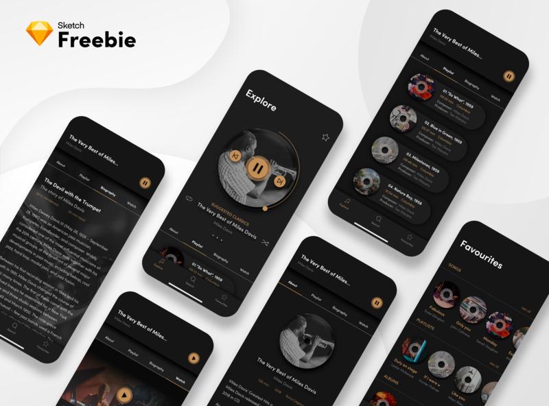 Jazz App Freebie mobile jazz app jazz app jazz classic music app music app dark dark ui
