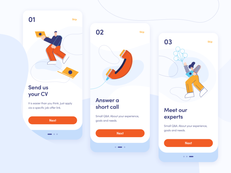 Miquido Onboarding Screens recruitment onboarding colorful branding blue illustration ux ui