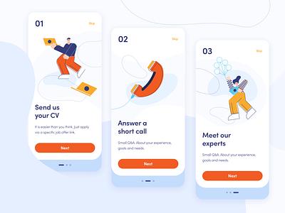 Miquido Onboarding Screens design app job finder uidesign mobile design job app ux ui