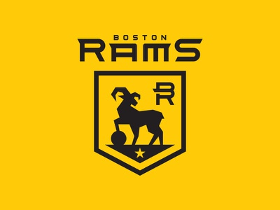 Boston Rams crest logo sports black gold yellow soccer rams boston