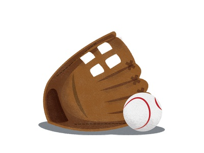 Baseball and glove baseball illustration