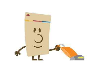 Key card avatar — Vacuuming vacuum key card illustration