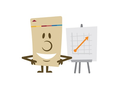 Key card avatar — Smiling with a chart chart key card illustration
