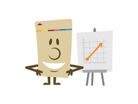Key card avatar —Smiling with a chart