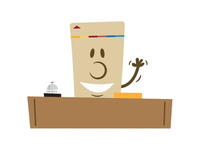 Key card avatar — Reception desk reception desk key card illustration