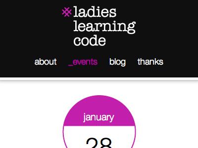 Ladies Learning Code - mobile version website mobile