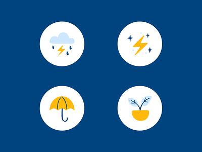 With Albert, you can weather any storm albert app umbrella icon ux ui plant thunder fintech finance clean rain app albert
