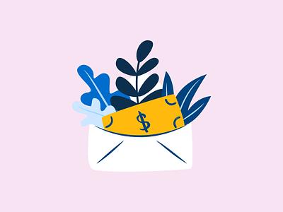 Grow your money envelope mail cash illustration dollar money fintech finance clean leaves plants app albert