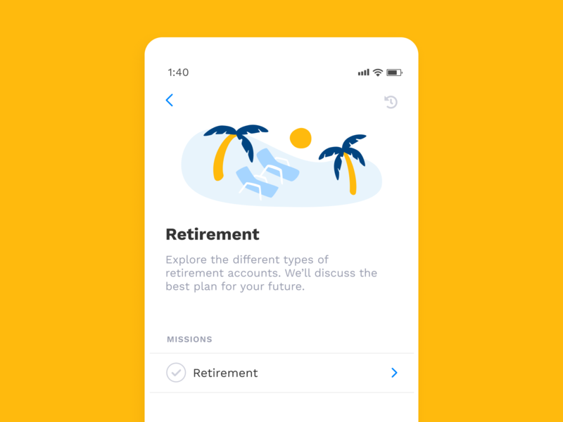 Can I retire at Coachella? sun palm trees beach coachella ux ui mobile illustration fintech finance clean retirement app albert