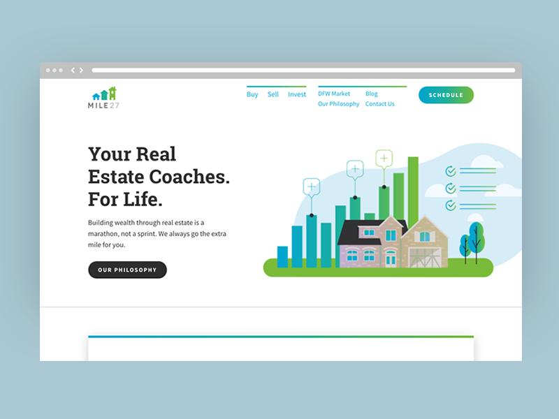 Mile27 Realty Website tech interface ui website vector gradient responsive realty real estate mile27