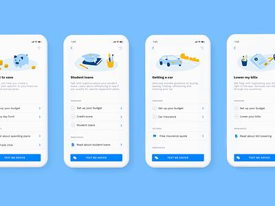 Genius Topics resources simple personal finance illustrations illustration genius fintech finance clean blue app albert