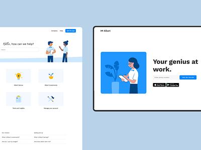 Albert website pages blue app illustration fintech albert website web design