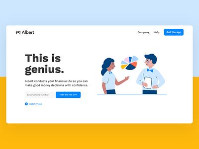 Albert website illustration clean typography blue finance fintech web web design website albert