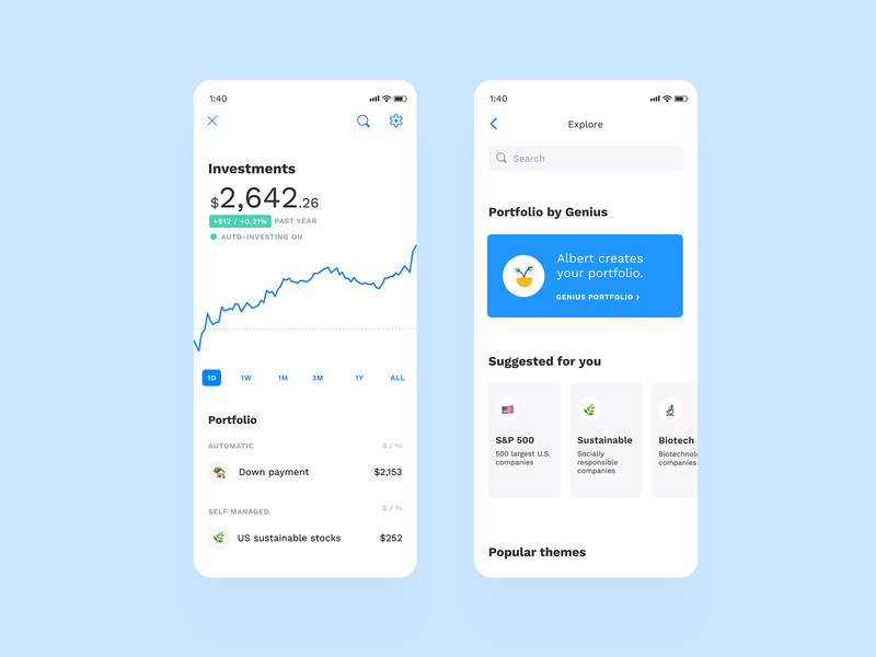 Albert Investments albert app app portfolio stock chart clean investing investments invest finance fintech albert