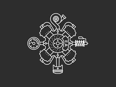 EA Artwork 2 strut piston turbo gauge brake automotive vector engine