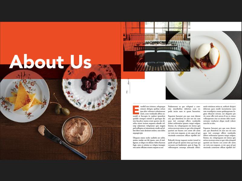 Food & Bev Preview Spread ipsum lorem spread typography orange overlay beverage food book layout