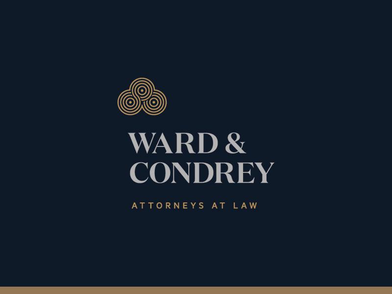 Ward & Condrey identity logo lawyer law attorney swirl navy bronze condrey ward