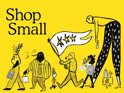 Shop Small business small bird birdman diverse short tall procreate illustration celebrate flag mailchimp shop shop small small business