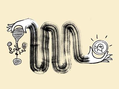 🌷= 💰 article header vase coin drawing ink illustration hands transform money mailchimp flower