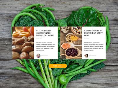 Vegan Blog Website adaptive recepie cards screen webpage design page web blog diet vegan