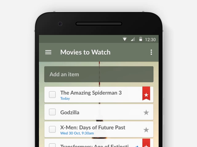 Wunderlist Material Interaction — 2014 star animated complete micro interaction new task transition smooth android