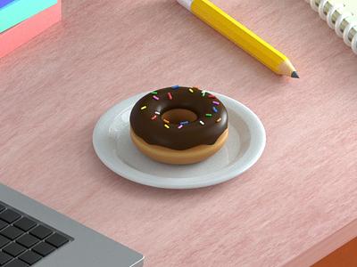 Desk & Donut isomatric cinema 4d sprinkles textured friendly colourful paper pen desk laptop illustration donut office 3d animation octanerender c4d
