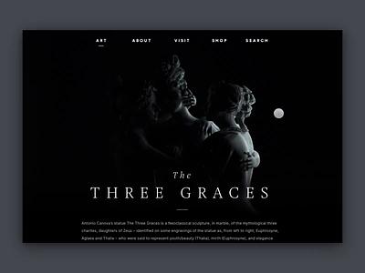 The Three Graces — Concept movement light hover concept webgl interactive dark statue ux ui webdesign clean interface museum c4d animation 3d website web