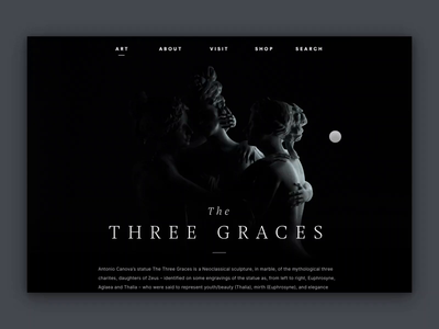 The Three Graces — Concept movement light hover concept webgl interactive dark statue ux ui webdesign clean interface museum c4d animation 3d website web