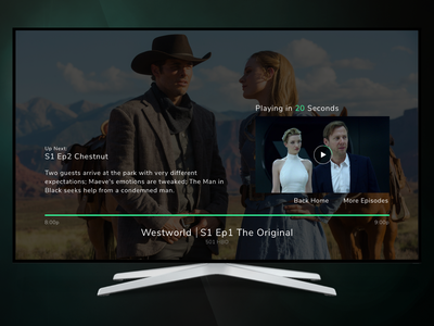 Autoplay feature - TV App ui minimal cool sleek videoplayer playback media player tv interface live tv streaming stream cable netflix entertainment media tv shows tvapp autoplay interface tv
