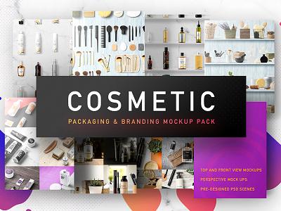 Cosmetic Packaging And Branding Mockup perspective front top header hero branding packaging mockup cosmetic