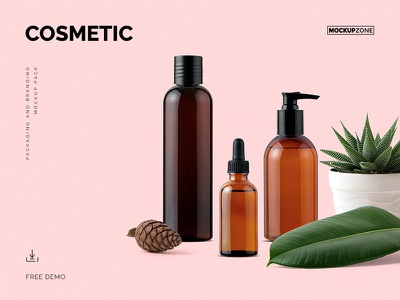 Free Demo Of Cosmetic Mockup Pack demo beauty dispenser bottle cosmetic mockup download free