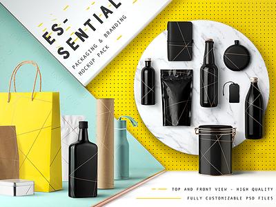 Essential Mockup Pack mockups branding stationery packaging bottle beer showcase essential mockup