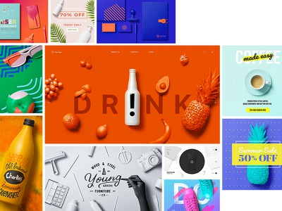 Unicolor Templates social banner hero header templates white clay objects item painted mockup unicolor