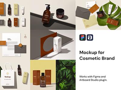 Cosmetic Brand Mockup For Figma figmadesign box bottle cosmetic mockup cosmetic packaging packaging cosmetic mockup figma