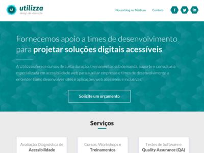 Proposal Layout for Utilizza's Website flat high contrast clean ux geometric blue moqups high fidelity prototype mockup interaction design webdesign website design