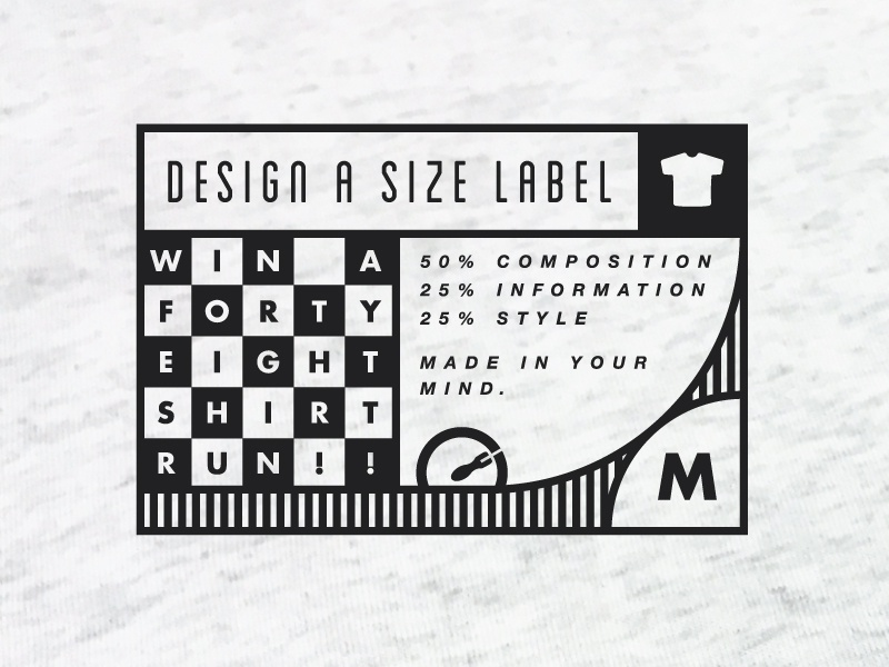 Size Label Playoff branding screen tshirt print brand size apparel custom clothing tag label shirt