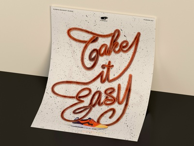 LETTERING TAKE IT EASY POSTER texture redshift lettering poster