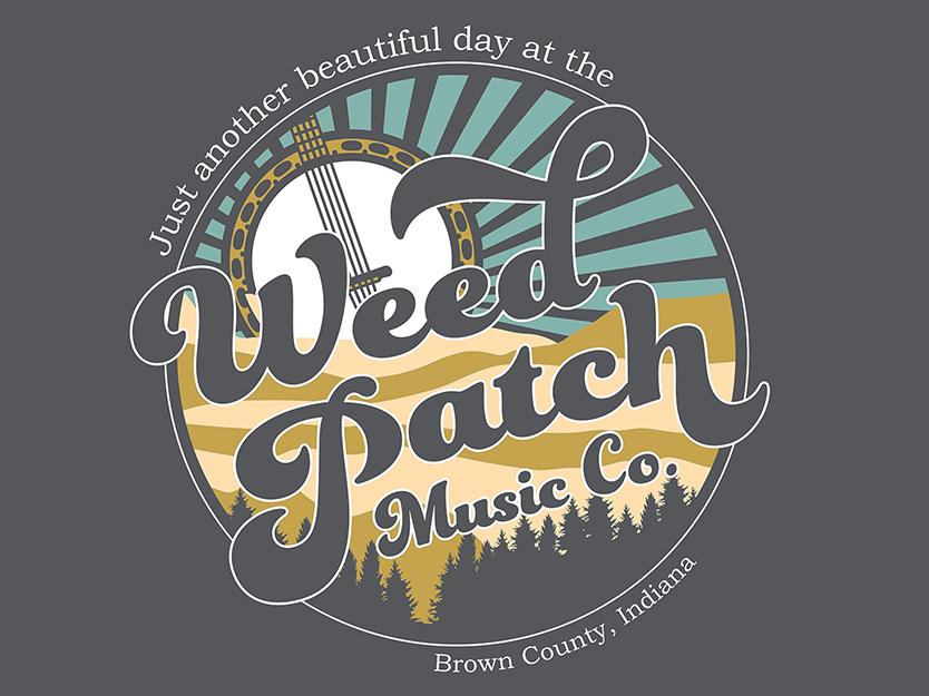 Weed Patch Music Co: 2019 Tee bluegrass banjo vintage graphic design illustration landscape t shirt tee shirt